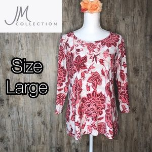 JM Collection Floral stretchy top